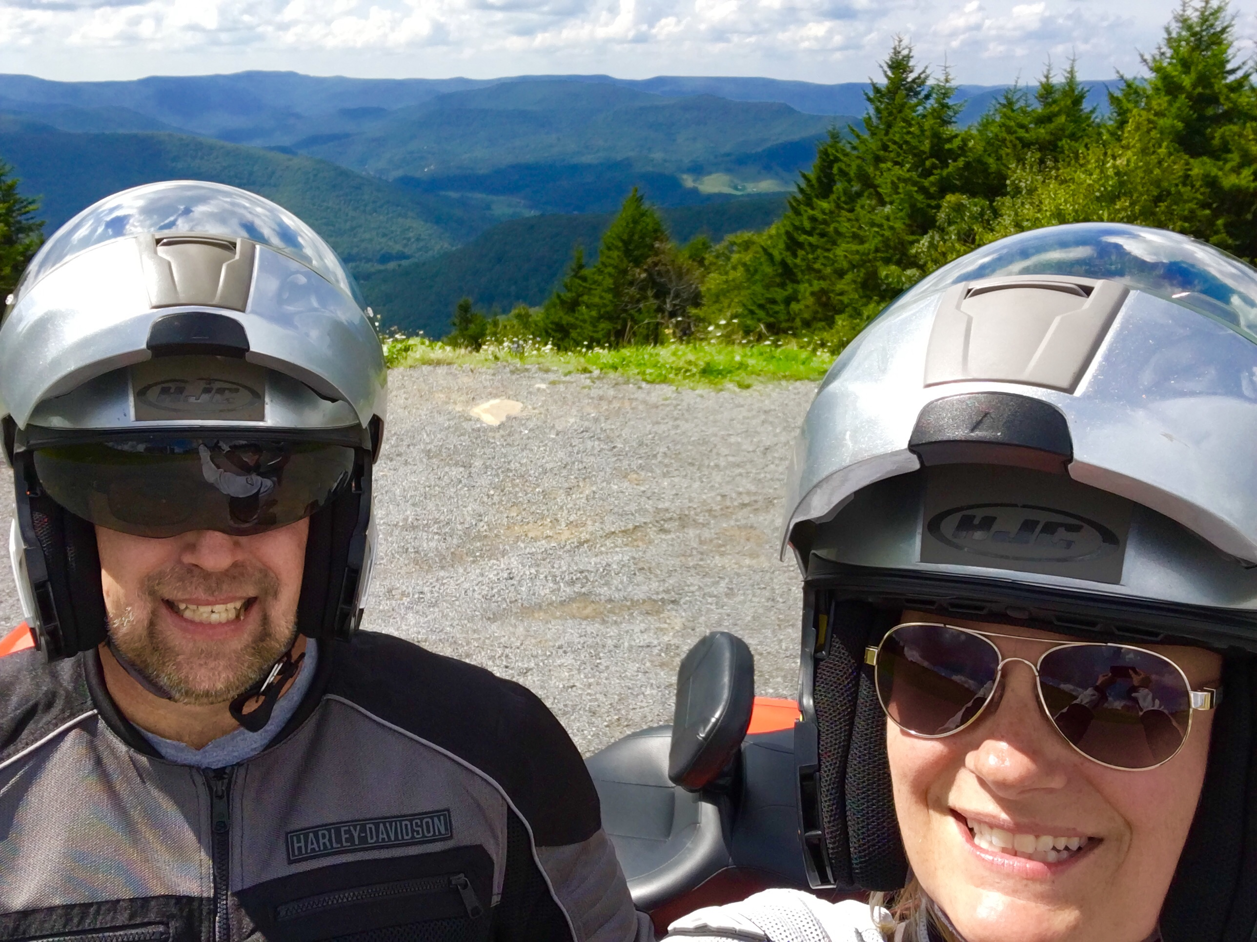David and Amy Cox motorcycling through the Appalachian Mountains