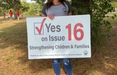 Amy Haines Asks Voters To Support Issue 16 at the New Paris, Ohio Apple Festival