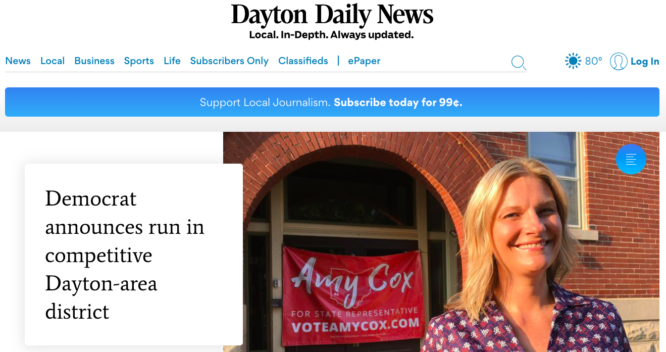 Amy Cox Campaign Kickoff Covered By Dayton Daily News