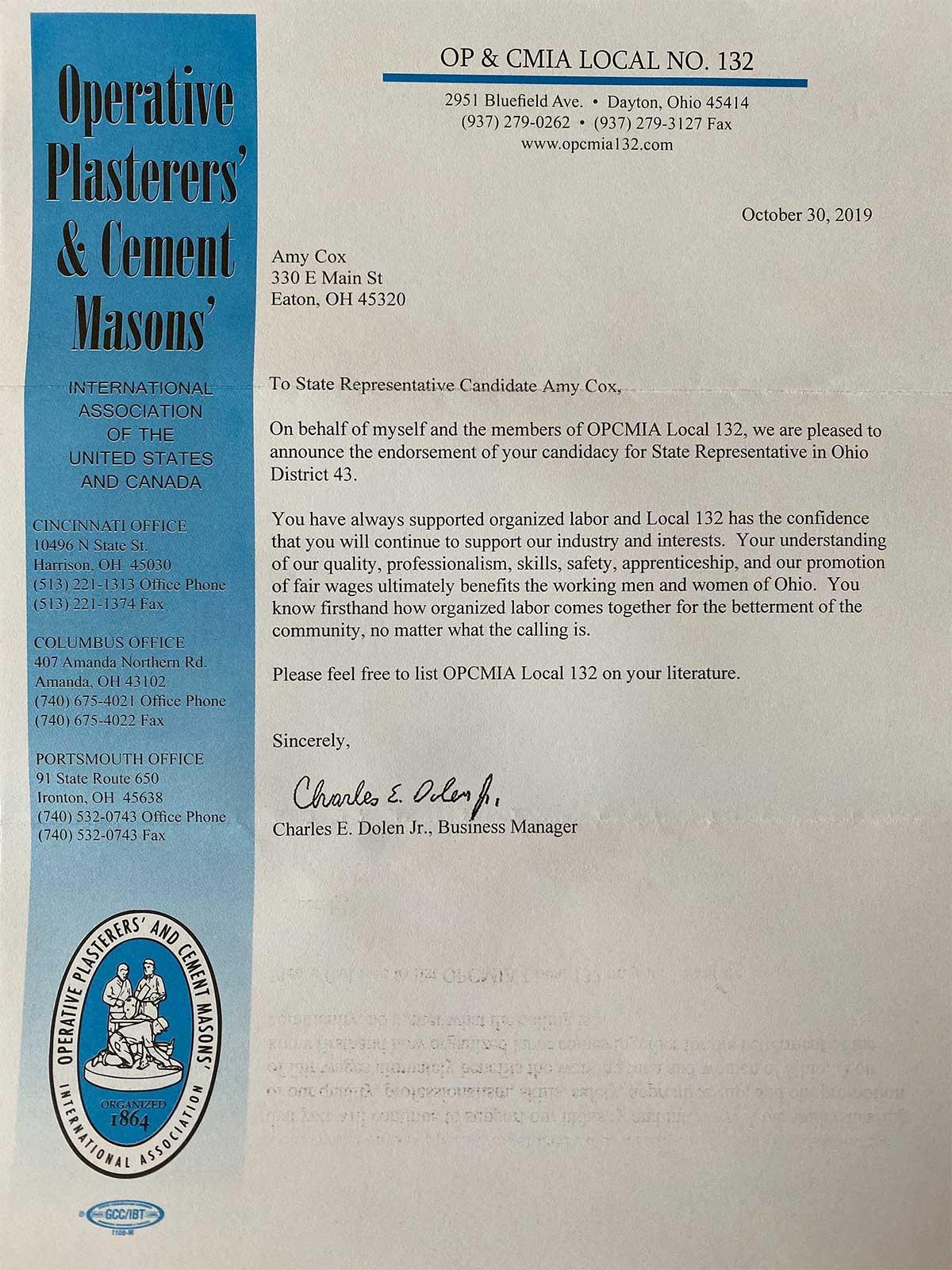 OPCMIA Local 132 Amy Cox Endorsement Letter