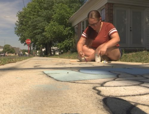 Preble County teen drawing attention with chalk sidewalk spectacle