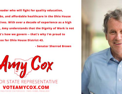 Thank You Ohio Senator Sherrod Brown For Your Endorsement!